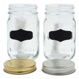 Glass Storage Jar with Metal Lid and Chalk Label (Assorted Colours) - 1