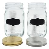 Bocal en verre avec étiquette noire et couvercle en métal (Couleurs assorties) - 1