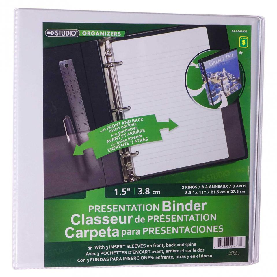 "1.5"" High End 3-Ring Presentation Binder (Assorted colours)"