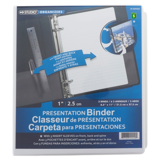 "1"" 3-Ring Presentation Binder (Assorted colours)"