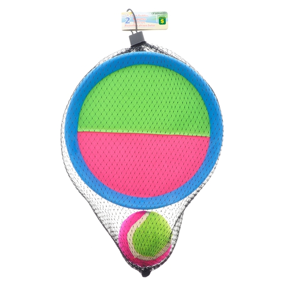 2Pk Large Adult Round Catch Paddle With Ball