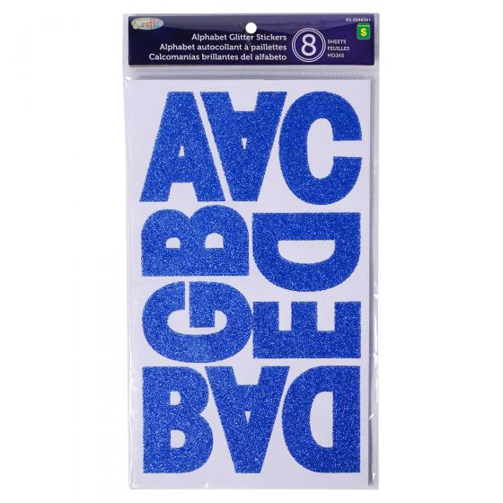 8 Sheets Alphabet Stickers  (Assorted Colours)