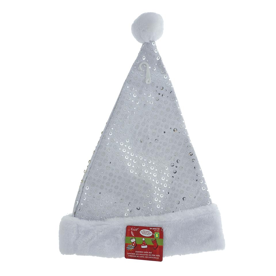 Sequin Santa Hat with Pompom