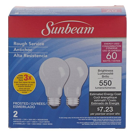2PK A19 60W Frosted Long Life Bulbs