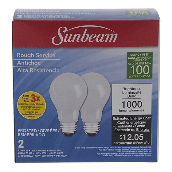 A19 100W Frosted Long Life Bulbs 2PK