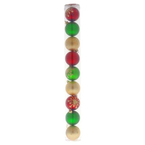 Mettalic Glitter Xmas Tree Balls 9PK (Assorted Designs and Colours)