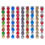 Mettalic Glitter Xmas Tree Balls 9PK (Assorted Designs and Colours) - 1