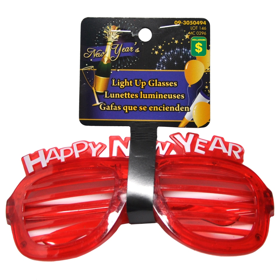 Flashing Lights Happy New Year Glasses