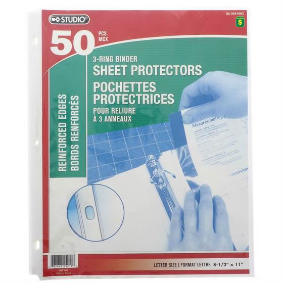 3-Ring binder Sheet Protectors 50PK
