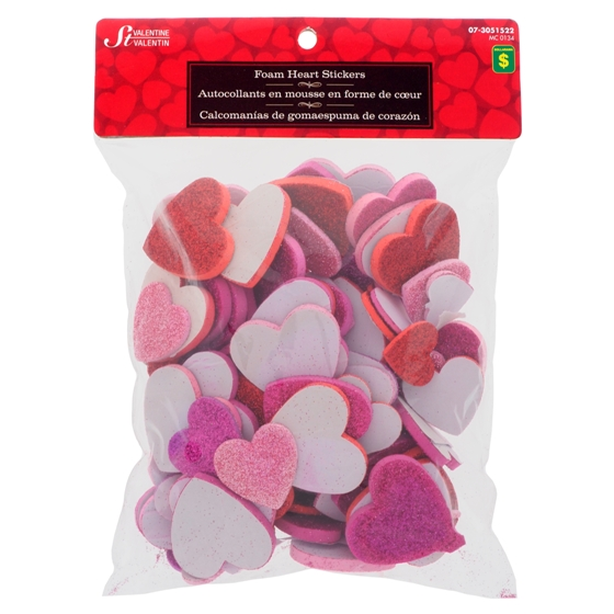 Glitter Self Adhesive Hearts