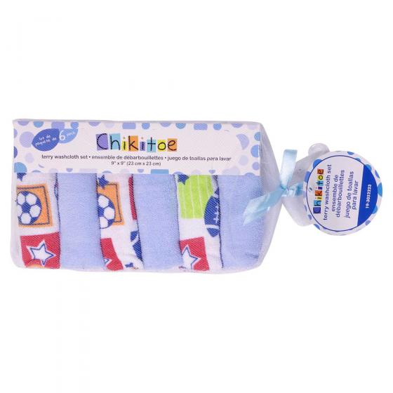 Soft Baby Washcloths 6PK (Assorted Styles and Colours)