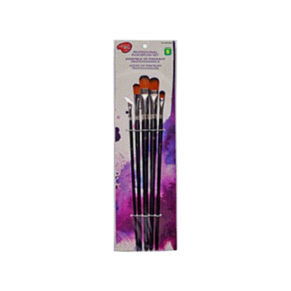 Paquet de 5 long pinceaux assortis