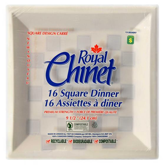 16PK Square Disposable Dinner Plates
