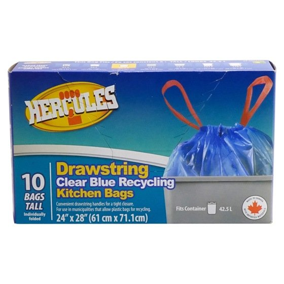 10PK Clear Blue Recycling Kitchen Bags