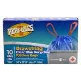 10PK Clear Blue Recycling Kitchen Bags - 0