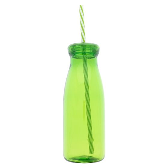 Tinted Plastic Bottle with Swirl Straw