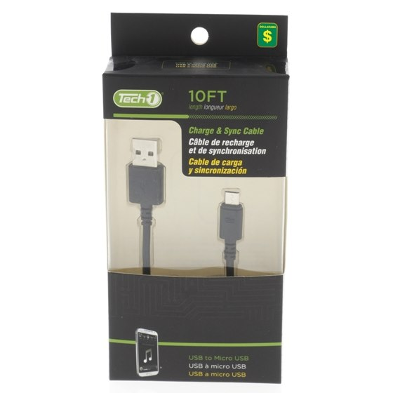 Charge and Sync USB to Micro USB 10' Cable (Assorted colours)