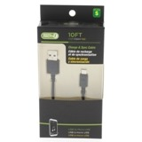 10' Charge and Sync USB to Micro USB Cable (Assorted Colours) - 0