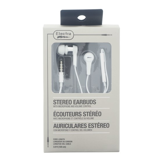 Stereo Earbuds with Microphone and Volume Control (Assorted colours)