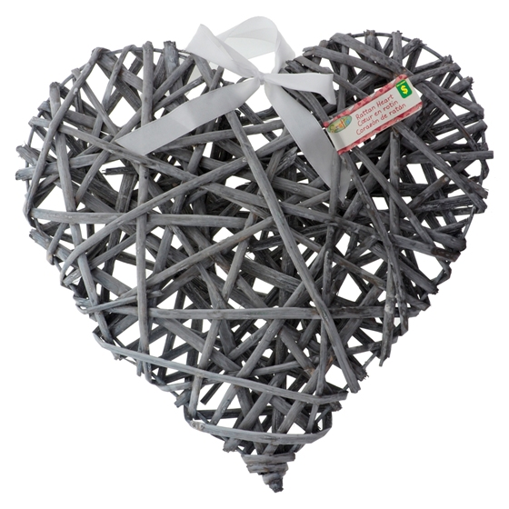 Decorative Rattan Heart (Assorted Colours)