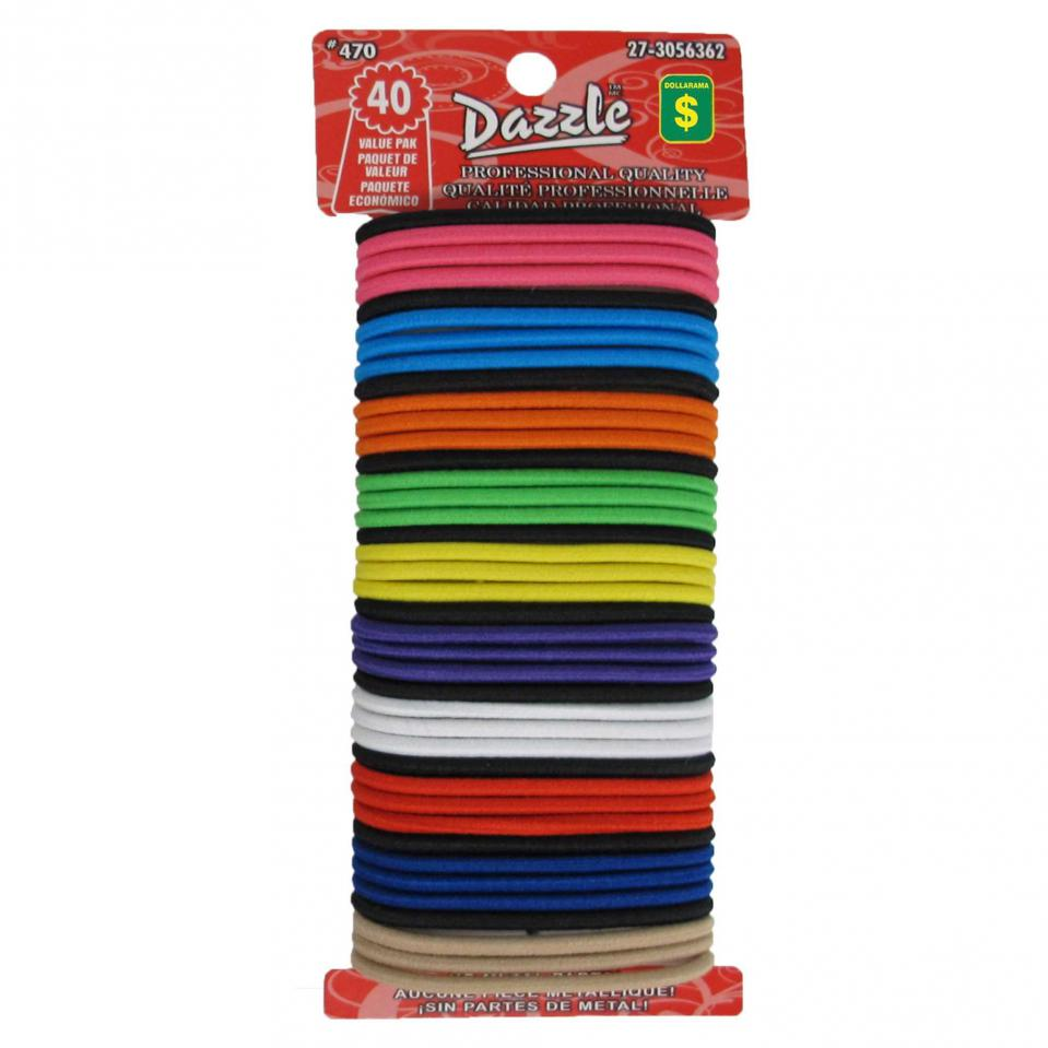 40PK Thick Hair Elastics (Assorted colours)