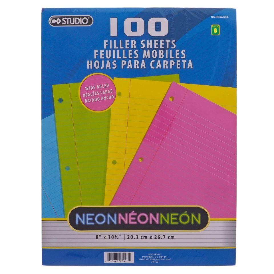 Paq. de 100 feuilles mobiles néon