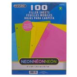100 PK Neon Colored Wide Ruled Filler Paper