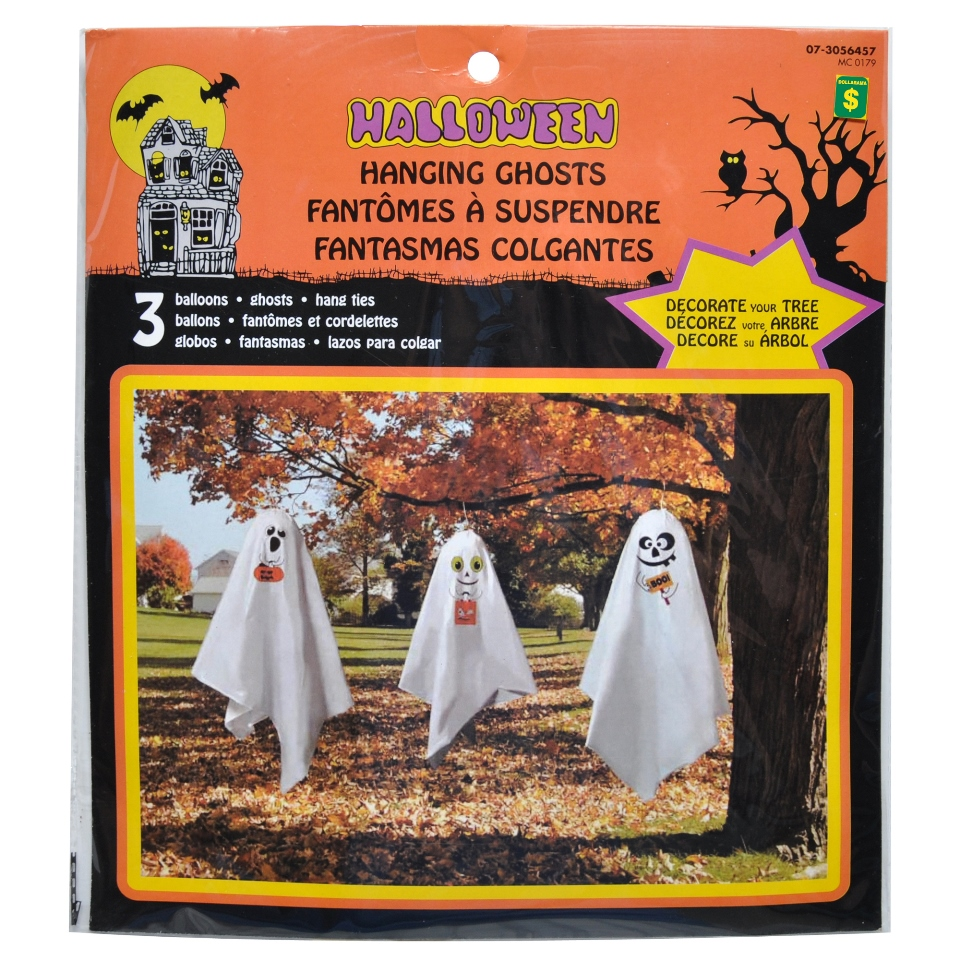 3PK Hanging Ghosts with Balloon Head