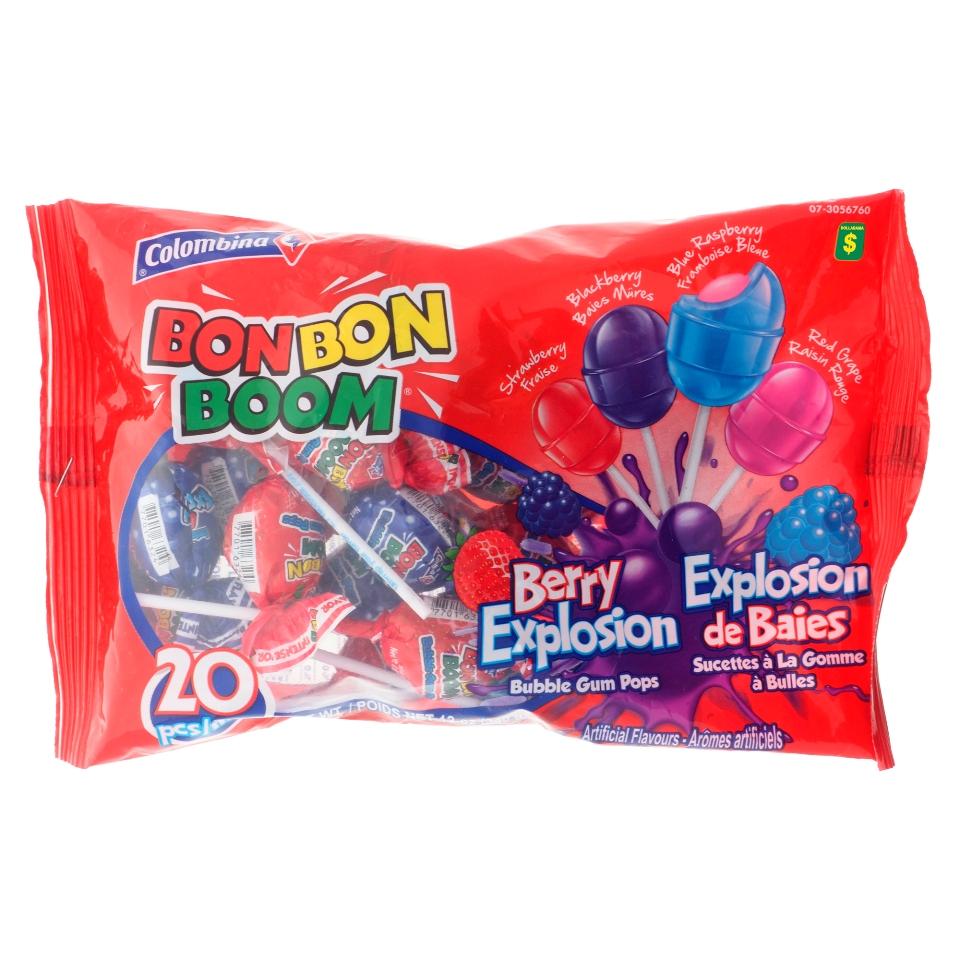 20 Sucettes à la gomme à bulles explosion de baies