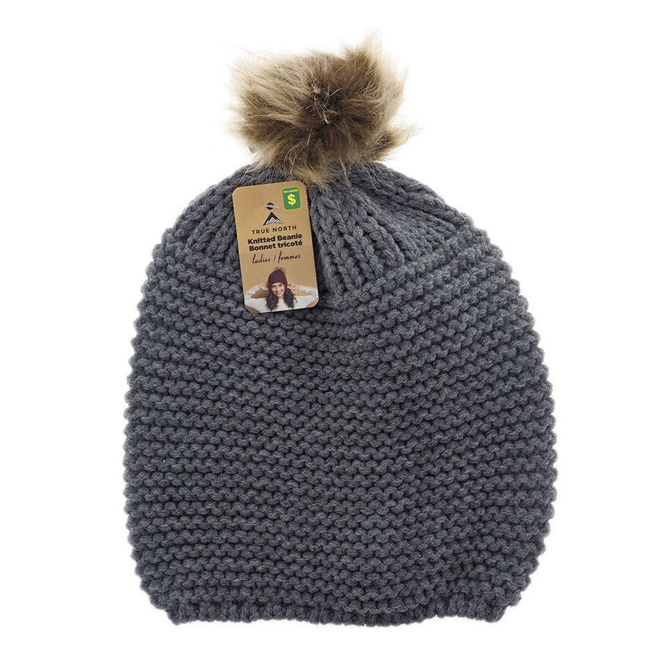 Ladies knitted tuque with faux fur pompom