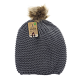 Ladies knitted tuque with faux fur pompom - 0