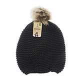 Ladies knitted tuque with faux fur pompom - 1