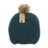 Ladies knitted tuque with faux fur pompom - 2