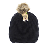 Ladies knitted tuque with faux fur pompom - 3