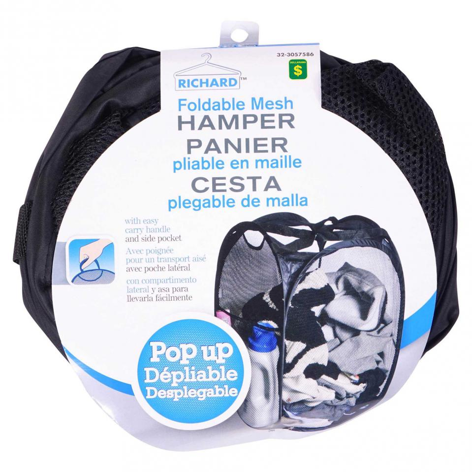 Black Foldable Mesh Hamper