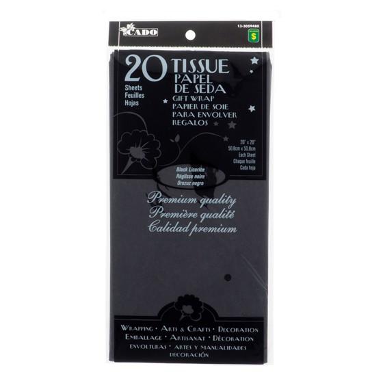20 feuilles de papier de soie noir réglisse