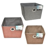 Large Fabric Storage Basket with Eyelet (Assorted Colours) - 1