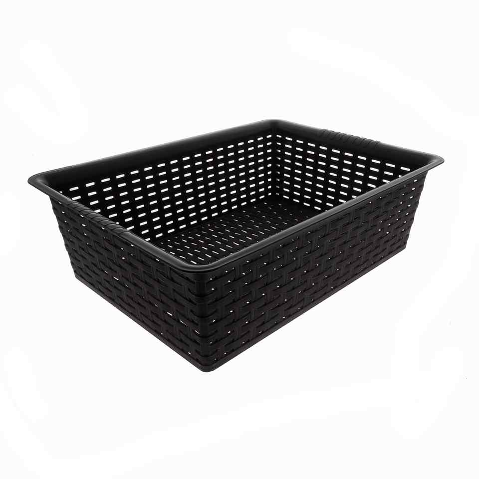 Rectangular Plastic Woven Basket (Assorted Colours)