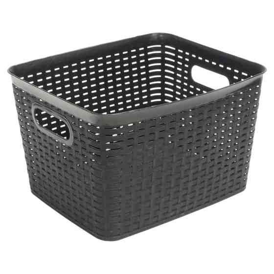 Large Rectangular Plastic Woven Basket (Assorted colours)