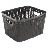 Large Rectangular Plastic Woven Basket (Assorted colours) - 0