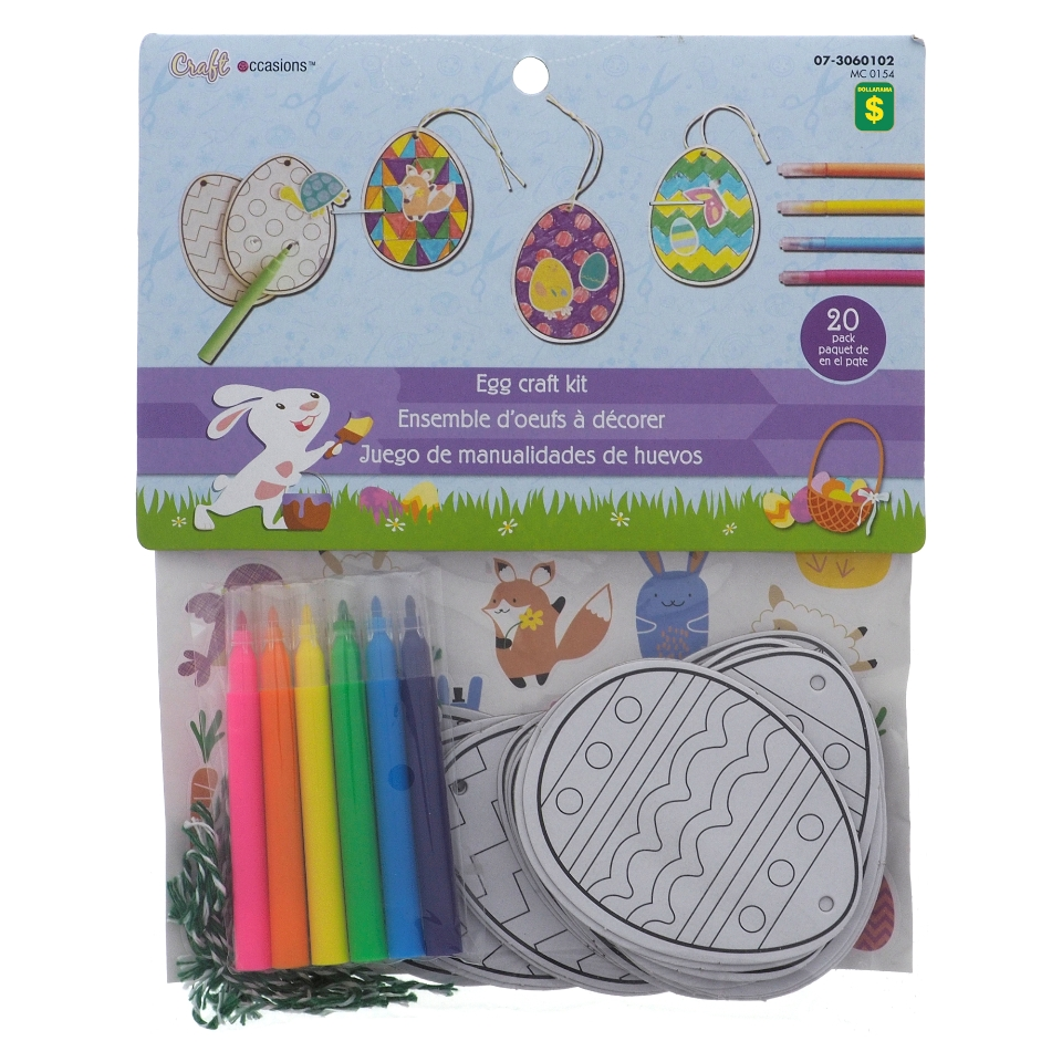 20Pk Coloring Cardboard Eggs Craft Kit With Stickers