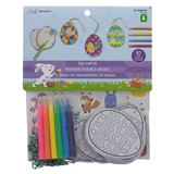 20Pk Coloring Cardboard Eggs Craft Kit With Stickers - 0