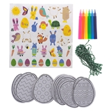 20Pk Coloring Cardboard Eggs Craft Kit With Stickers - 1