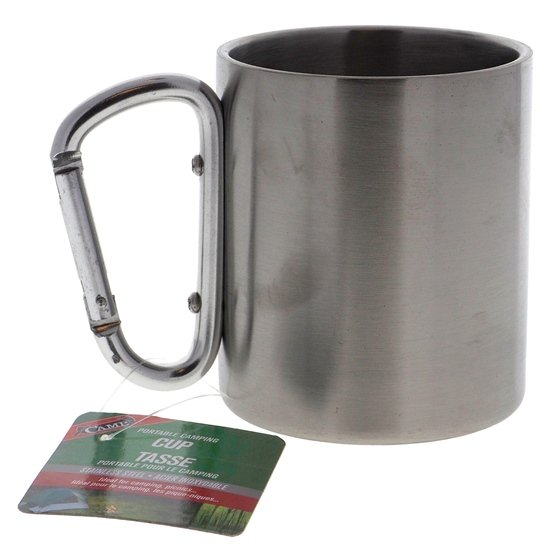 Stainless Steel Camping Cup W/ Aluminum Carabiner Handle