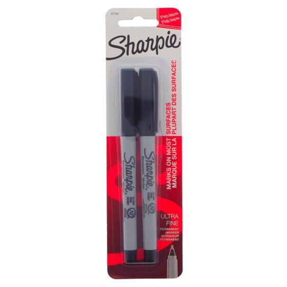 Black Ultra Fine Point Permanent Markers 2PK