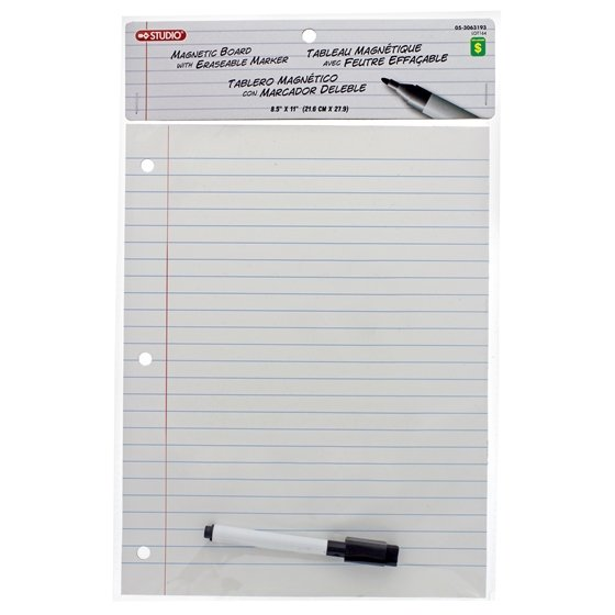 Magnetic Dry Erase Board W/Ruled Sheet Look And Pen