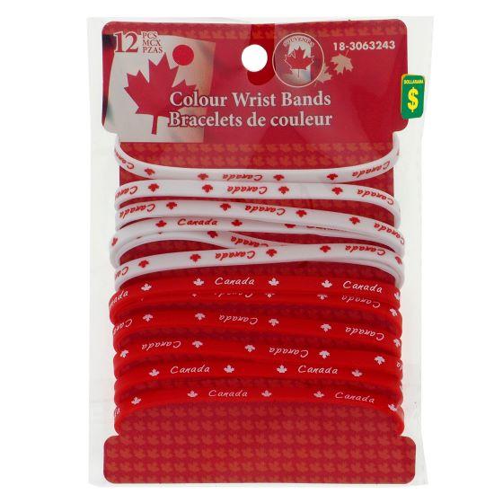 12pk Canada Colour Rubber Wrist Band