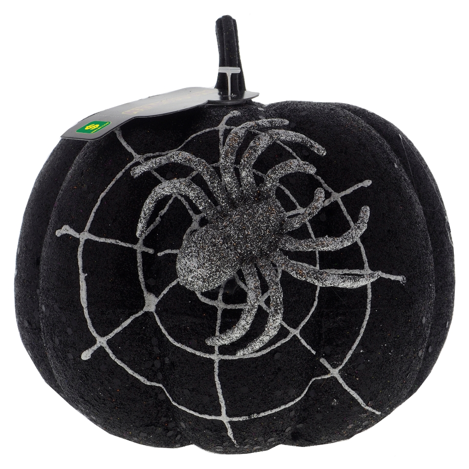 Glittered Pumpkin with Spider Web and Spider