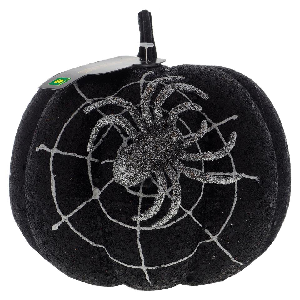 Citrouille scintillante avec toile d'araignée et araignée