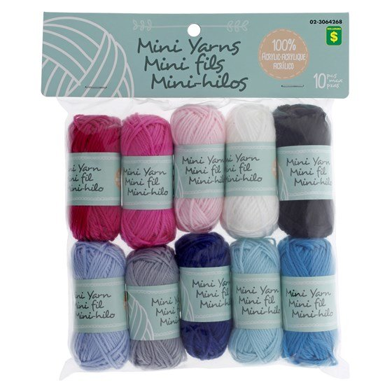 10PK Mini Coloured Cotton and Acrylic Yarn